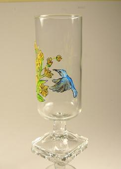 Painted Glasses with Hummingbird