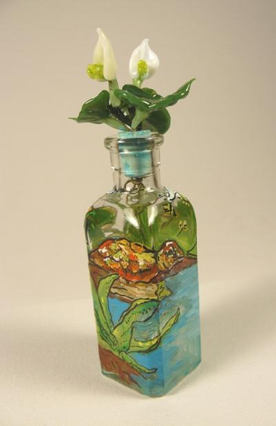 Glass flower, turtle, painted bottle